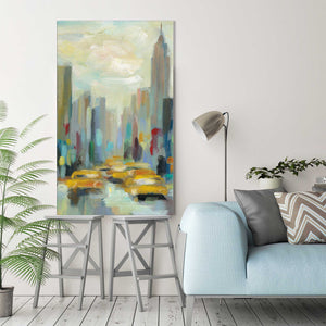Manhattan Sketches II V by Silvia Vassileva Print on Canvas Cityscapes,Blue art,Portrait Shape,All Canvas Art,Silvia Vassileva