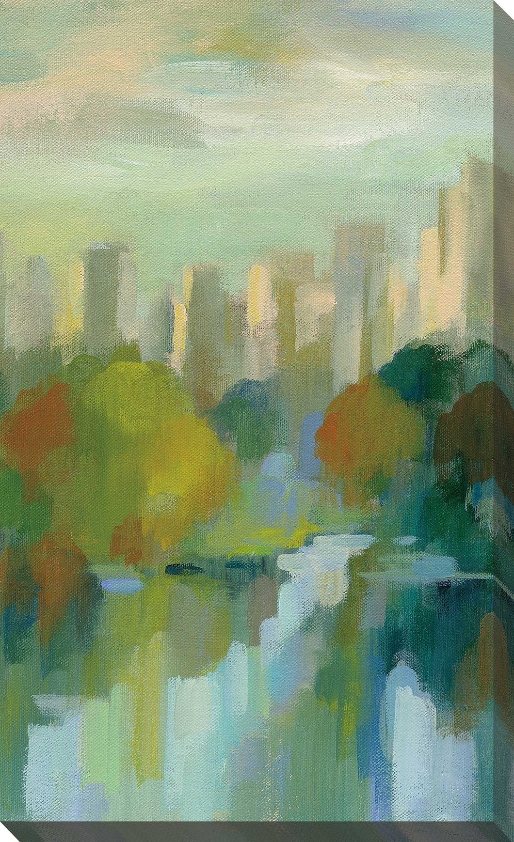 Manhattan Sketches IV V by Silvia Vassileva Print on Canvas Cityscapes,Green art,Portrait Shape,All Canvas Art,Silvia Vassileva