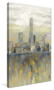 Manhattan Fog III by Silvia Vassileva Print on Canvas Cityscapes,Gray art,Portrait Shape,All Canvas Art,Silvia Vassileva