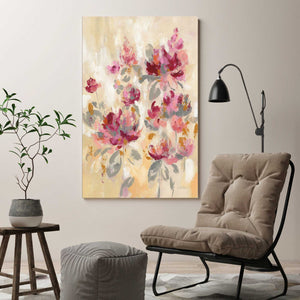 Floral Reflections II by Silvia Vassileva Print on Canvas Floral,Pink art,Portrait Shape,All Canvas Art,Silvia Vassileva