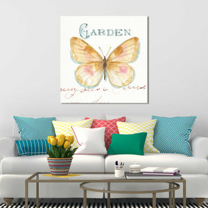 Rainbow Seeds Butterflies IIA by Lisa Audit Print on Canvas Animals,Yellow art,Square Shape,All Canvas Art,Lisa Audit