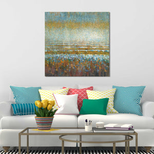 Rains over the Lake Print on Canvas Abstract,Blue art,Square Shape,All Canvas Art,Danhui Nai