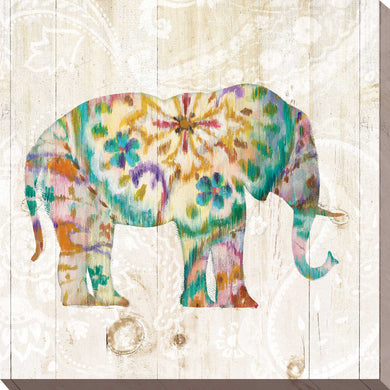 Boho Paisley Elephant I Print on Canvas Animals,Yellow art,Square Shape,All Canvas Art,Danhui Nai