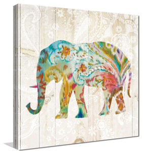 Boho Paisley Elephant II Print on Canvas Animals,Blue art,Square Shape,All Canvas Art,Danhui Nai