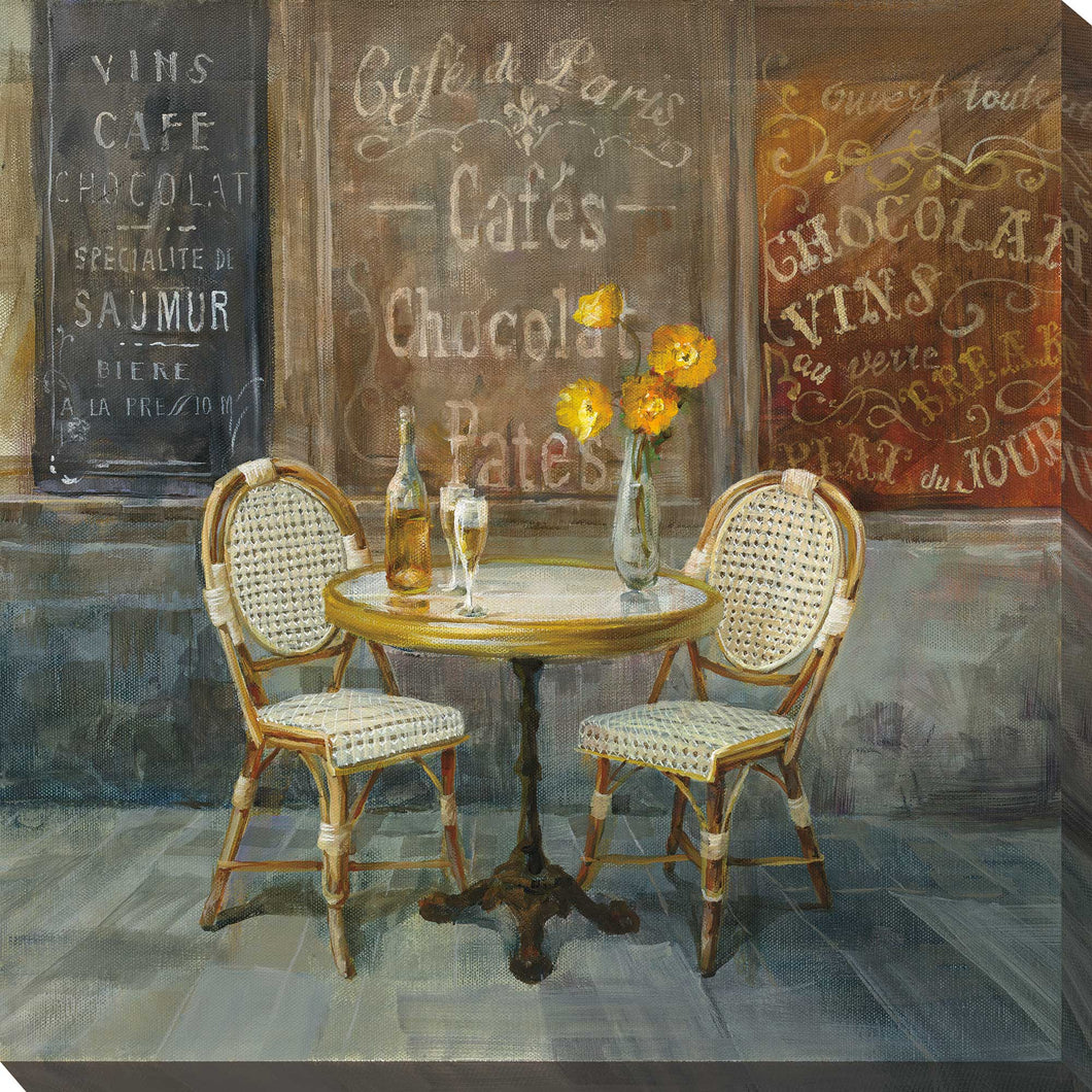 French Cafe Print on Canvas Food and beverage,Brown art,Square Shape,All Canvas Art,Danhui Nai