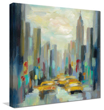 Manhattan Sketches II by Silvia Vassileva Print on Canvas Cityscapes,Romance,Blue art,Square Shape,All Canvas Art,Silvia Vassileva
