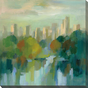 Manhattan Sketches IV by Silvia Vassileva Print on Canvas Cityscapes,Green art,Square Shape,All Canvas Art,Silvia Vassileva