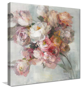 Blush Bouquet Print on Canvas Floral,Gray art,Square Shape,All Canvas Art,Danhui Nai