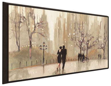 An Evening Out Neutral by Julia Purinton Print on Canvas in Floating Frame Cityscapes,Romance,Brown art,Landscape Shape,All Floating Canvas,Julia Purington