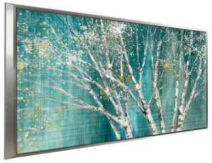 Blue Birch Horizontal by Julia Purinton Print on Canvas in Floating Frame Landscapes,Green art,Landscape Shape,All Floating Canvas,Julia Purington