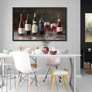 Bistro Reds v.2 Crop Print on Canvas in Floating Frame Food and beverage,Brown art,Landscape Shape,All Floating Canvas,Danhui Nai