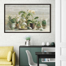 Greenhouse Orchids on Wood v2 Print on Canvas in Floating Frame Floral,Gray art,Landscape Shape,All Floating Canvas,Danhui Nai