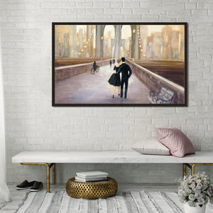 Bridge to NY IV by Julia Purinton Print on Canvas in Floating Frame Cityscapes,Romance,Brown art,Landscape Shape,All Floating Canvas,Julia Purington