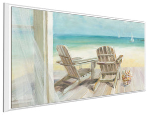 Seaside Morning Crop IV Print on Canvas in Floating Frame Sea and Shore,Blue art,Landscape Shape,All Floating Canvas,Danhui Nai