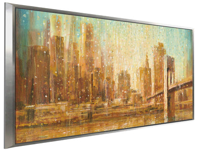 Champagne City IV Print on Canvas in Floating Frame Cityscapes,Orange art,Landscape Shape,All Floating Canvas,Danhui Nai
