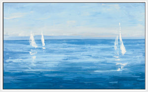 Open Sail with Turquoise by Julia Purinton Print on Canvas in Floating Frame Sea and Shore,Blue art,Landscape Shape,All Floating Canvas,Julia Purington