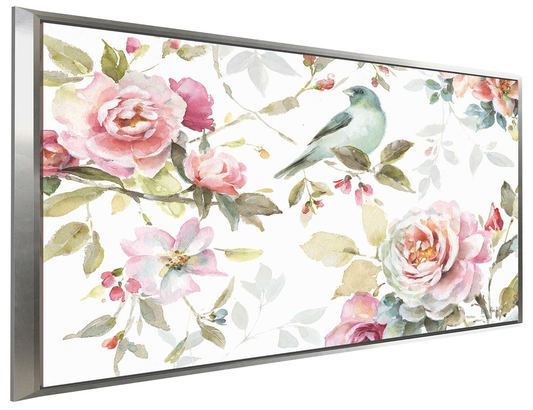 Beautiful Romance III by Lisa Audit Print on Canvas in Floating Frame Floral,White art,Landscape Shape,All Floating Canvas,Lisa Audit