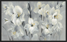 Flowers on Gray by Silvia Vassileva Print on Canvas in Floating Frame Floral,Gray art,Landscape Shape,All Floating Canvas,Silvia Vassileva