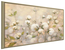 Cotton Field by Julia Purinton Print on Canvas in Floating Frame Floral,Yellow art,Landscape Shape,All Floating Canvas,Julia Purington
