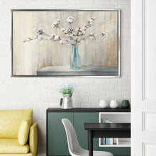 Cotton Bouquet by Julia Purinton Print on Canvas in Floating Frame Floral,Gray art,Landscape Shape,All Floating Canvas,Julia Purington