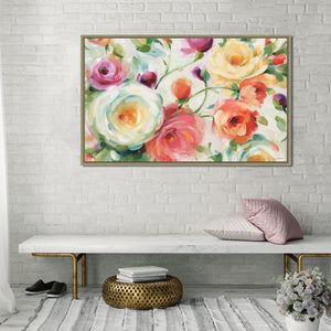 Florabundance I by Lisa Audit Print on Canvas in Floating Frame Floral,Red art,Landscape Shape,All Floating Canvas,Lisa Audit