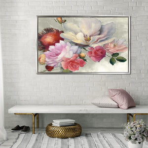 Flemish Fantasy on White by Julia Purinton Print on Canvas in Floating Frame Floral,Pink art,Landscape Shape,All Floating Canvas,Julia Purington