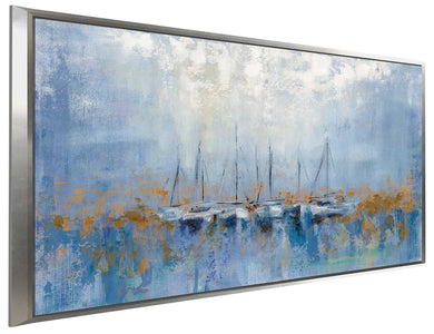 Boats in the Harbor I by Silvia Vassileva Print on Canvas in Floating Frame Sea and Shore,Blue art,Landscape Shape,All Floating Canvas,Silvia Vassileva