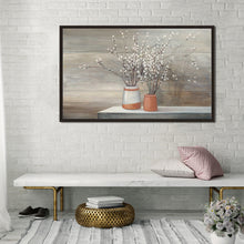 Pussy Willow Still Life by Julia Purinton Print on Canvas in Floating Frame Floral,Brown art,Landscape Shape,All Floating Canvas,Julia Purington
