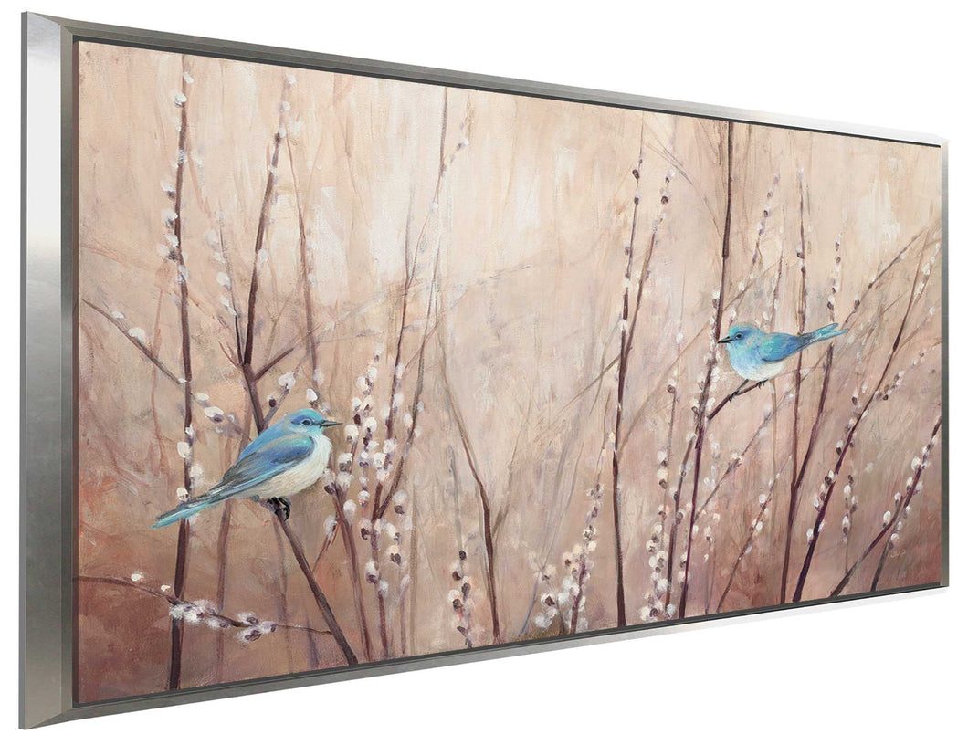 Pretty Birds by Julia Purinton Print on Canvas in Floating Frame Floral,Brown art,Landscape Shape,All Floating Canvas,Julia Purington