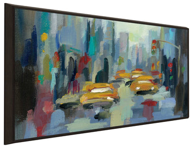Manhattan Sketches I IV by Silvia Vassileva Print on Canvas in Floating Frame Cityscapes,Blue art,Landscape Shape,All Floating Canvas,Silvia Vassileva