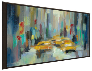 Manhattan Sketches II IV by Silvia Vassileva Print on Canvas in Floating Frame Cityscapes,Blue art,Landscape Shape,All Floating Canvas,Silvia Vassileva