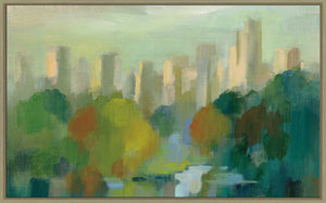 Manhattan Sketches IV IV by Silvia Vassileva Print on Canvas in Floating Frame Cityscapes,Green art,Landscape Shape,All Floating Canvas,Silvia Vassileva
