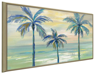 Marine Layer Palms by Silvia Vassileva Print on Canvas in Floating Frame Landscapes,Green art,Landscape Shape,All Floating Canvas,Silvia Vassileva