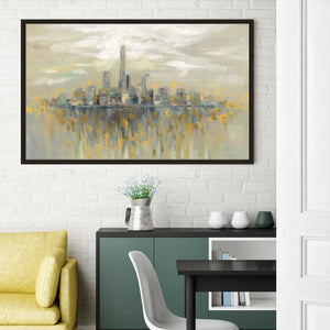 Manhattan Fog by Silvia Vassileva Print on Canvas in Floating Frame Cityscapes,Yellow art,Landscape Shape,All Floating Canvas,Silvia Vassileva