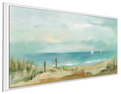 Serenity on the Beach by Silvia Vassileva Print on Canvas in Floating Frame Sea and Shore,Blue art,Landscape Shape,All Floating Canvas,Silvia Vassileva