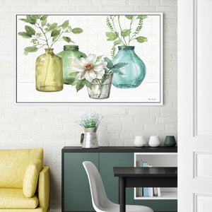 Mixed Greens LXI by Lisa Audit Print on Canvas in Floating Frame Floral,Green art,Landscape Shape,All Floating Canvas,Lisa Audit
