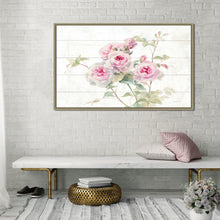 Sweet Roses on Wood Print on Canvas in Floating Frame Floral,Pink art,Landscape Shape,All Floating Canvas,Danhui Nai