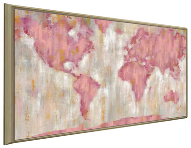 Blushing World Map v2 Crop by Silvia Vassileva Print on Canvas in Floating Frame Maps,Pink art,Landscape Shape,All Floating Canvas,Silvia Vassileva