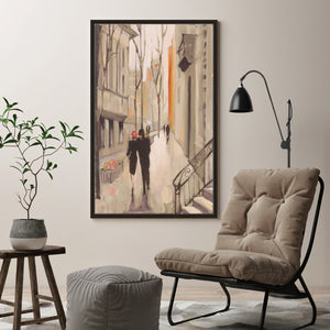Village Promenade Neutral by Julia Purinton Print on Canvas in Floating Frame Cityscapes,Romance,Brown art,Portrait Shape,All Floating Canvas,Julia Purington