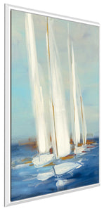 Summer Regatta II by Julia Purinton Print on Canvas in Floating Frame Sea and Shore,Blue art,Portrait Shape,All Floating Canvas,Julia Purington