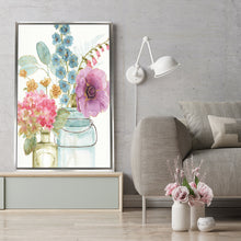 Rainbow Seeds Flowers VIII by Lisa Audit Print on Canvas in Floating Frame Floral,White art,Portrait Shape,All Floating Canvas,Lisa Audit