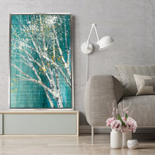 Blue Birch Horizontal III by Julia Purinton Print on Canvas in Floating Frame Landscapes,Green art,Portrait Shape,All Floating Canvas,Julia Purington