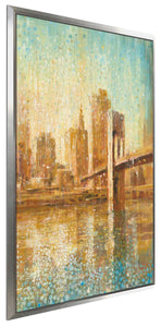 Champagne City V Print on Canvas in Floating Frame Cityscapes,Orange art,Portrait Shape,All Floating Canvas,Danhui Nai