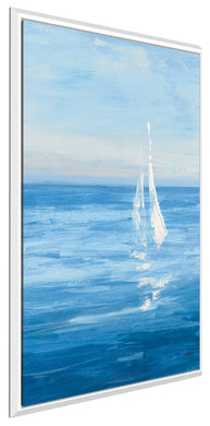 Open Sail with Turquoise III by Julia Purinton Print on Canvas in Floating Frame Sea and Shore,Blue art,Portrait Shape,All Floating Canvas,Julia Purington