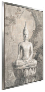 Buddha Neutral Print on Canvas in Floating Frame Spiritual,Gray art,Portrait Shape,All Floating Canvas,Danhui Nai