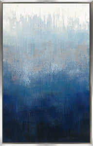 Silver Wave I by Silvia Vassileva Print on Canvas in Floating Frame Abstract,Blue art,Portrait Shape,All Floating Canvas,Silvia Vassileva