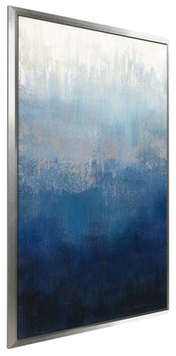 Silver Wave II by Silvia Vassileva Print on Canvas in Floating Frame Abstract,Blue art,Portrait Shape,All Floating Canvas,Silvia Vassileva