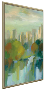 Manhattan Sketches IV V by Silvia Vassileva Print on Canvas in Floating Frame Cityscapes,Green art,Portrait Shape,All Floating Canvas,Silvia Vassileva