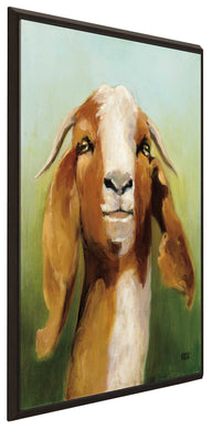 Got Your Goat by Julia Purinton Print on Canvas in Floating Frame Animals,Green art,Portrait Shape,All Floating Canvas,Julia Purington