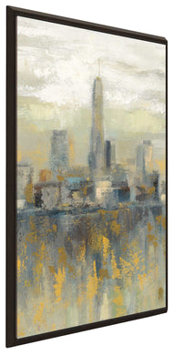Manhattan Fog III by Silvia Vassileva Print on Canvas in Floating Frame Cityscapes,Gray art,Portrait Shape,All Floating Canvas,Silvia Vassileva